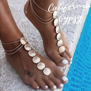 2 Gold Gypsy Beach Boho festival medallion anklets